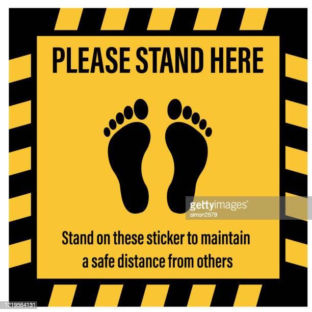 social distancing signage floor sticker - distant stock illustrations