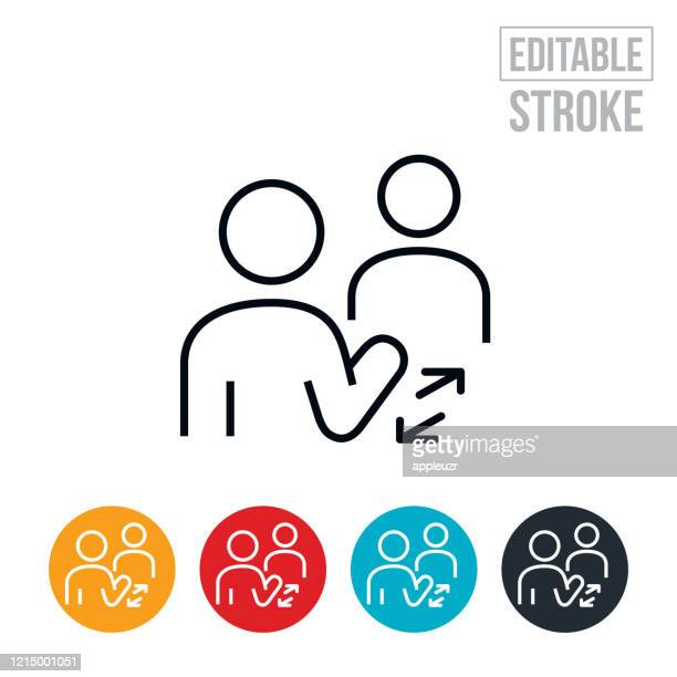 social distancing thin line icon - editable stroke - respect stock illustrations