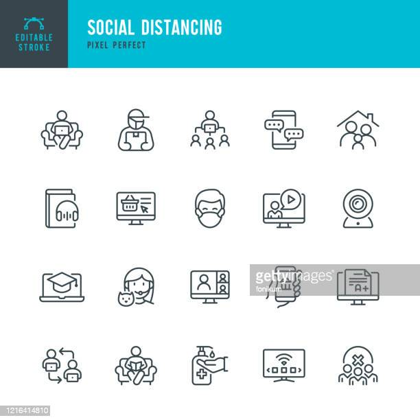 stockillustraties, clipart, cartoons en iconen met social distantiëren - dunne lijn vector pictogram set. pixel perfect. bewerkbare slag. de set bevat pictogrammen: social distantiëren, remote work, quarantine, video conference, working at home, delivery person, e-learning. - coronavirus
