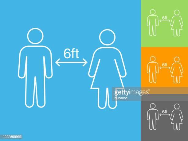 illustrations, cliparts, dessins animés et icônes de social distancing two people icône - distanciation sociale