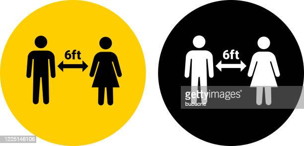 social distancing two people icon - stick figure stock illustrations