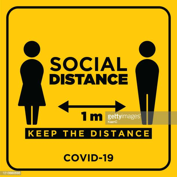 social distancing warning sign. warning in a yellow sign about coronavirus or covid-19 vector illustration - social distancing stock illustrations