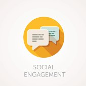 Social Engagement Icon. Flat design style with long shadow