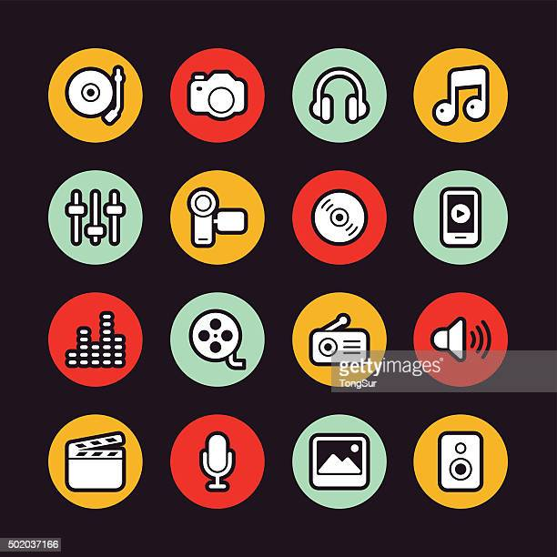 Social Entertainment icons - Regular Outline - Circle