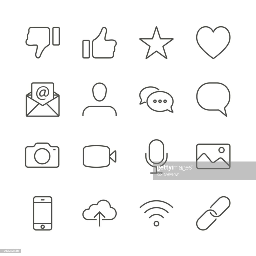Social icon vector. Line contact symbol isolated. Trendy flat outline ui sign design. Thin linear social media graphic pictogram for web site, mobile application. Logo illustration. Eps10