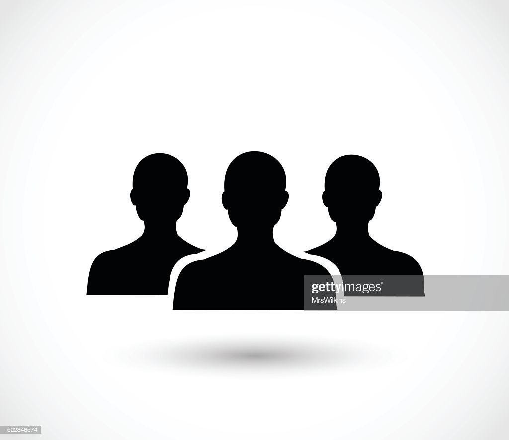 Social icon vector - three men silhouettes