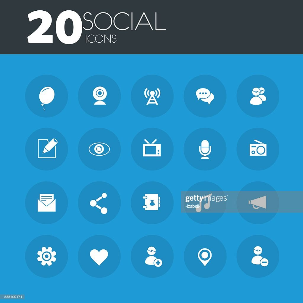 Social icons on round blue buttons