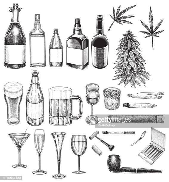 ilustraciones, imágenes clip art, dibujos animados e iconos de stock de cuestiones sociales, vicios, malos hábitos, tabaquismo, bebida, drogas recreativas - fumar marihuana