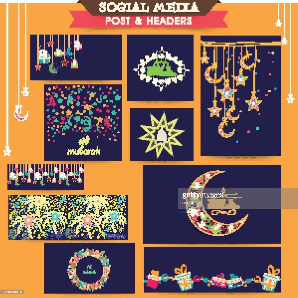 Social media ads, header or banner for Eid celebration.