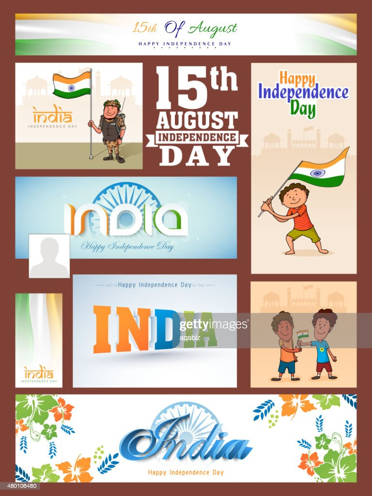 Social media ads or headers for Indian Independence Day.