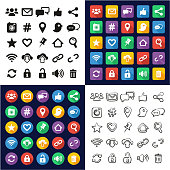 Social Media All in One Icons Black & White Color Flat Design Freehand Set