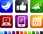 Social Media and Communication royalty free vector icon set stickers