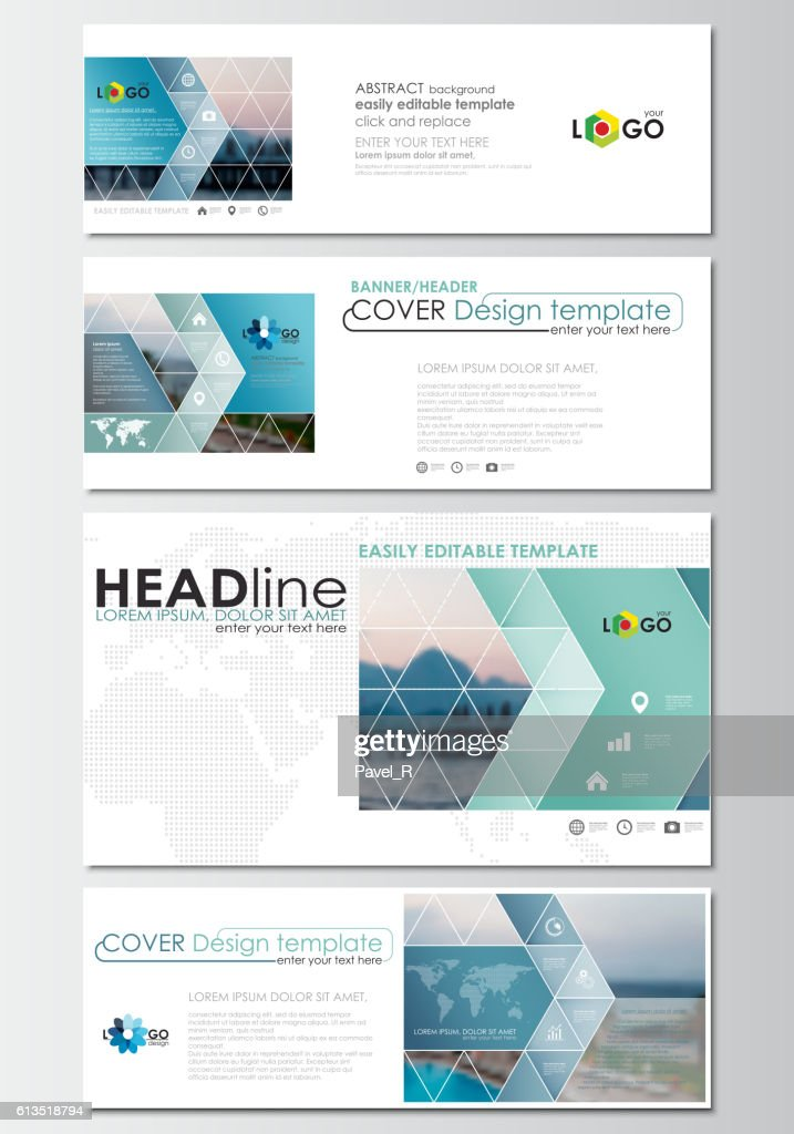Social media and email headers set, modern banners. Business templates
