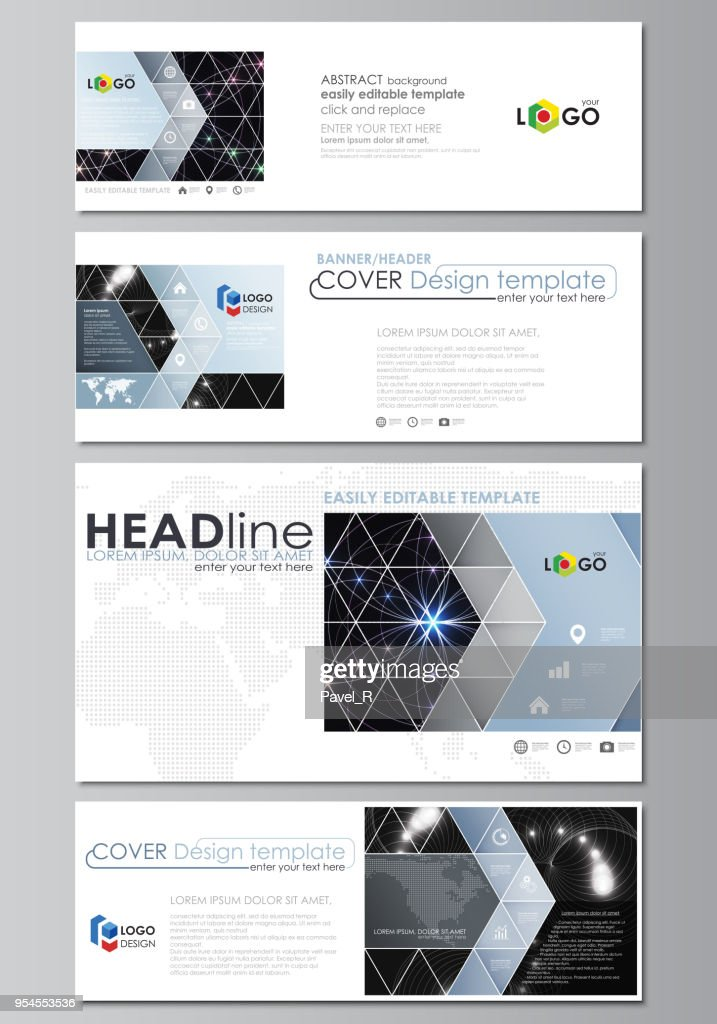 Social media and email headers set, modern banners. Business templates. Abstract design template, vector layouts in popular sizes. Sacred geometry, glowing geometrical ornament. Mystical background