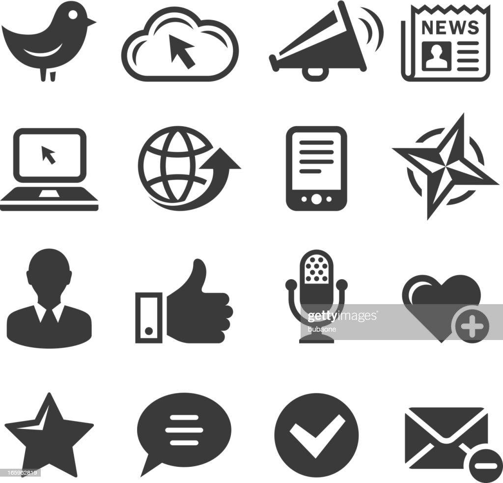 Social media and internet communications black & white icon set