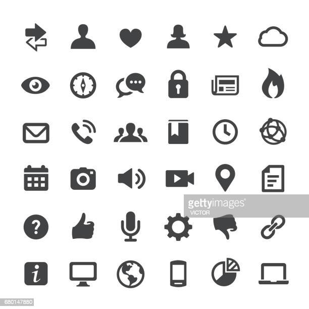 social media and internet icons - big series - using phone stock illustrations
