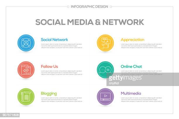 Social Media and Network Infographic with 6 options, steps or processes.