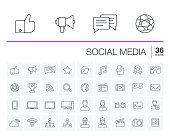 Social media and network vector icons