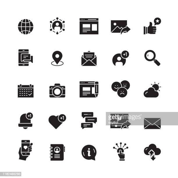 social media and social network related vector icons - social media icon stock illustrations