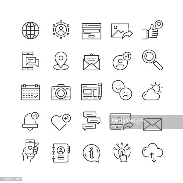 social media and social network related vector line icons - social issues stock illustrations