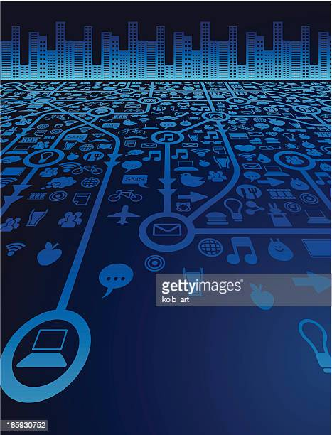 social media and the city - emitting stock illustrations, clip art, cartoons, & icons