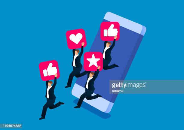 social media attracts business people to jump out of mobile phones - sociaal netwerk stock illustrations