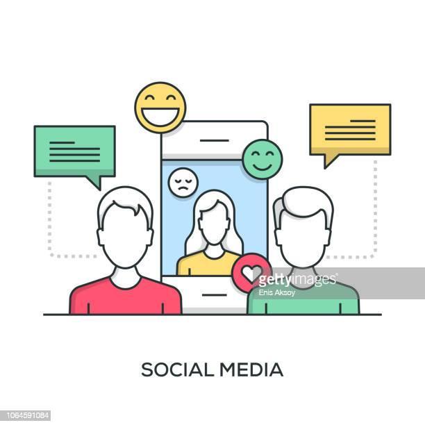 social media banner - customer engagement stock illustrations