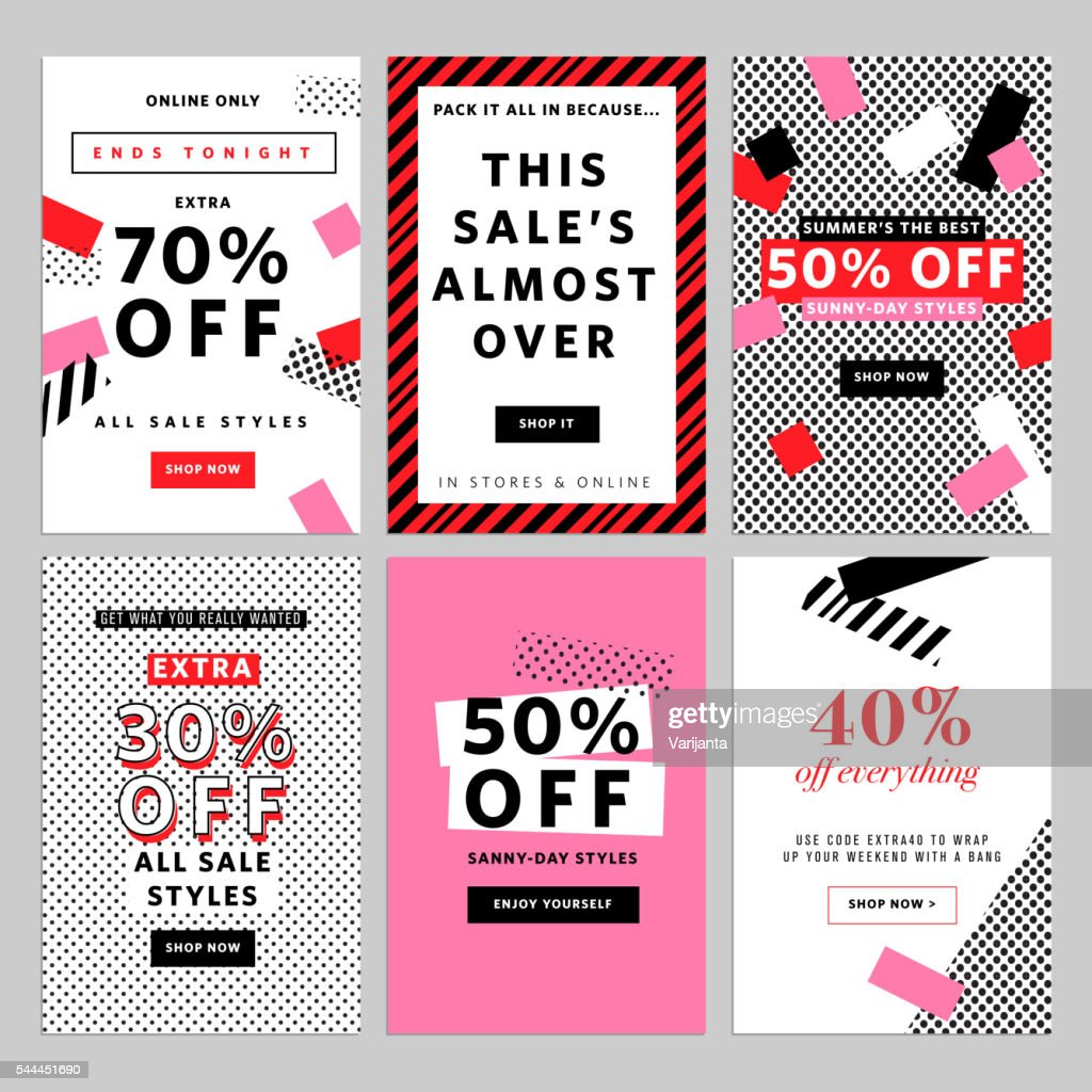 Social media banners for online shopping