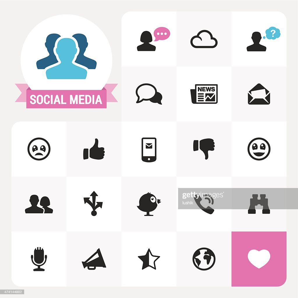 Social Media base vector icons and label