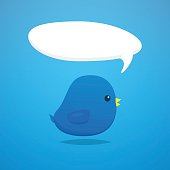 Social media blue bird cartoon vector
