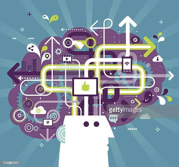 social media brain - sociology stock illustrations, clip art, cartoons, & icons