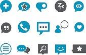 Social media bubble cartoon icons