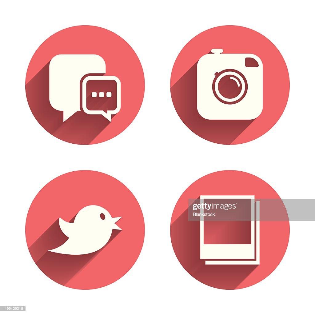social media chat speech bubble photo frames vector art getty images