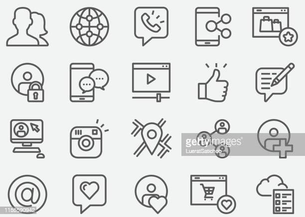illustrazioni stock, clip art, cartoni animati e icone di tendenza di social media comunicazione shopping online e icone della linea del profilo personale - blog