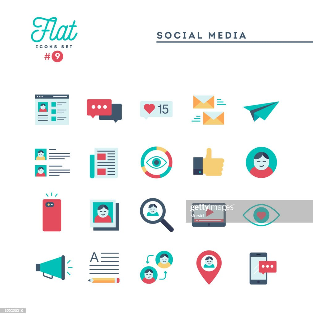 Social media, communication, personal profile, online posting and more, flat icons set