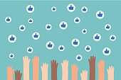 Social media competition. Raised hands trying to catch flying like signs / flat editable vector illustration, clip art