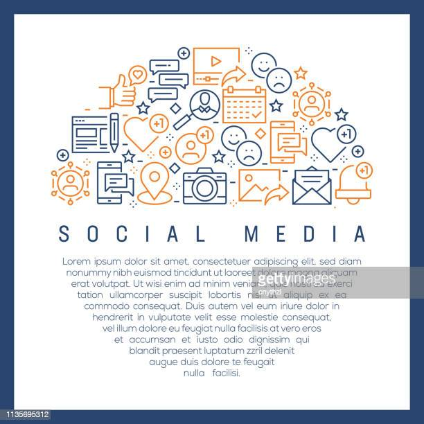 social media concept - colorful line icons, arranged in circle - social media icons stock illustrations