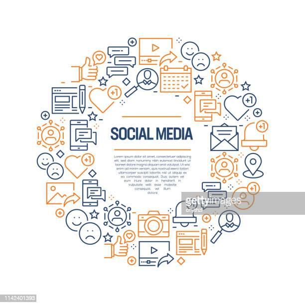 bildbanksillustrationer, clip art samt tecknat material och ikoner med sociala medier concept-färgglada linje ikoner, arrangerade i circle - sociala frågor