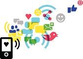 social media concept - icons