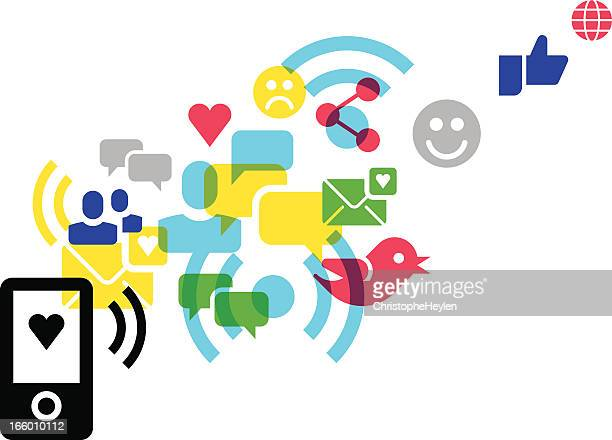 illustrations, cliparts, dessins animés et icônes de concept de médias sociaux-icônes - social media