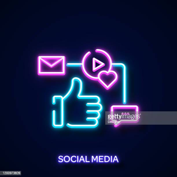 social media concept neon style, design elements - royal blue stock illustrations