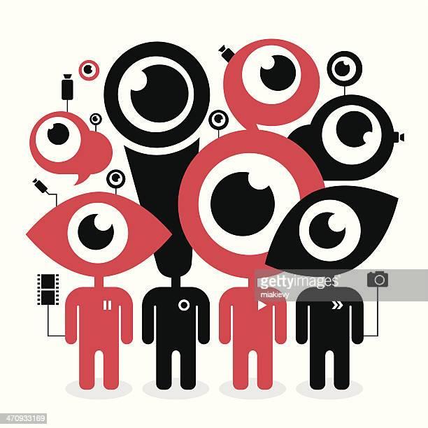 social media concept - webcam media apparaat stock illustrations