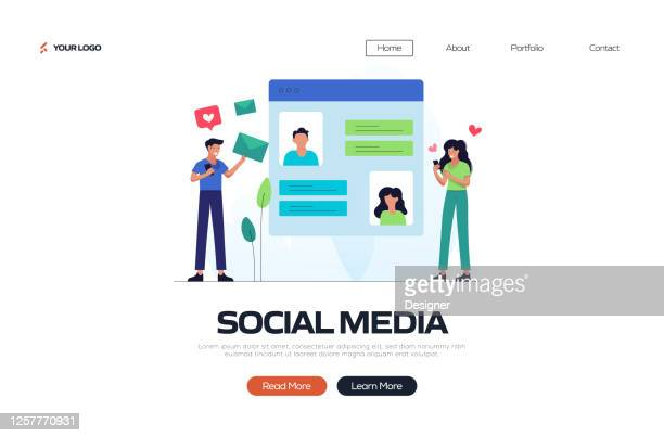 social media concept vector illustration for landing page template, website banner, advertisement and marketing material, online advertising, business presentation etc. - homepage stock illustrations