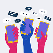 Social media concept vector with many hands holding smartphones.