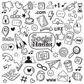 Social media doodle. Internet website doodles, social network communication and online web hand drawn vector icons set