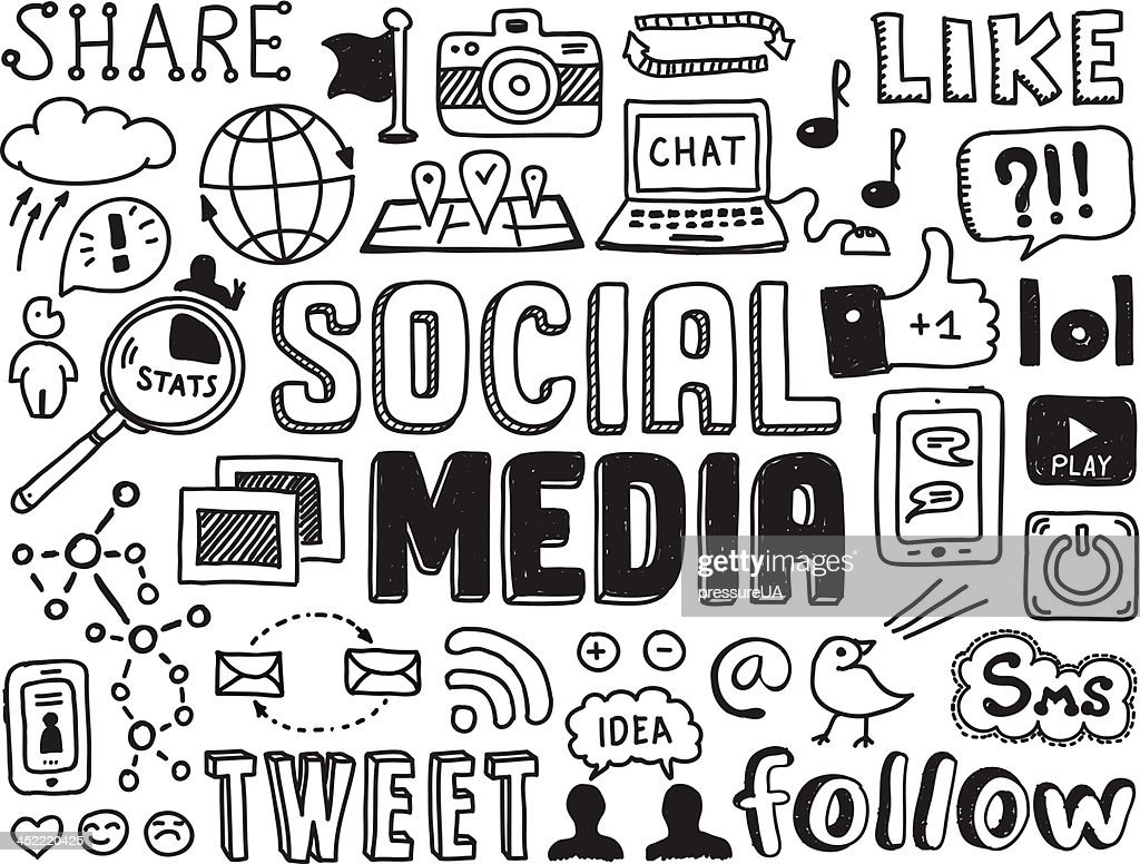 Social media doodles elements