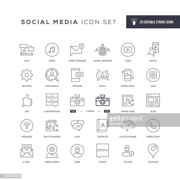 social media editable stroke line icons - following stock illustrations