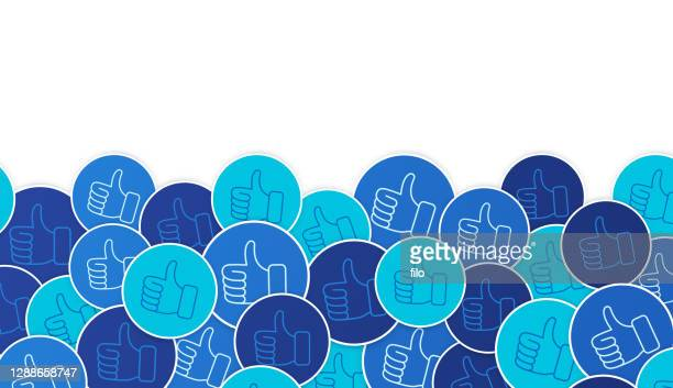 social media engagement thumbs up background - admiration stock illustrations