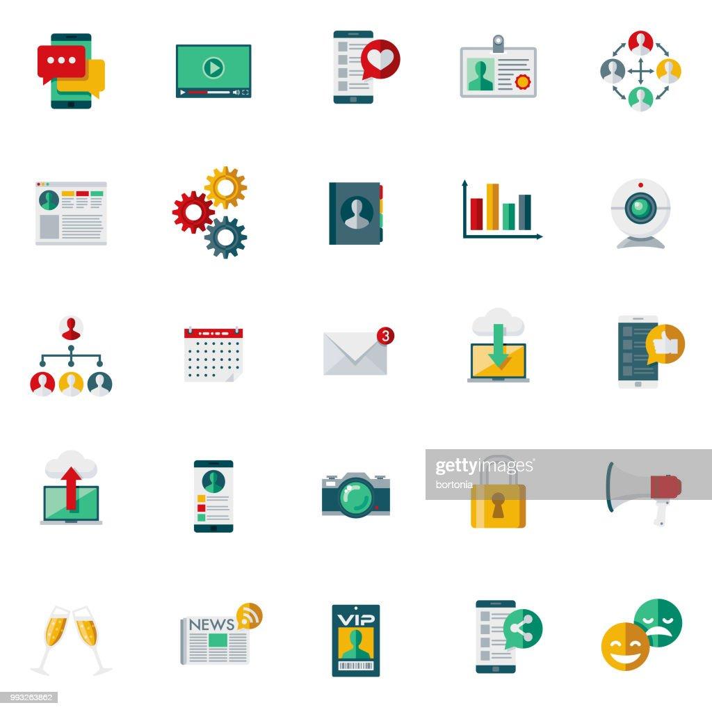 Social Media Flat Design Icon Set : Stock Illustration