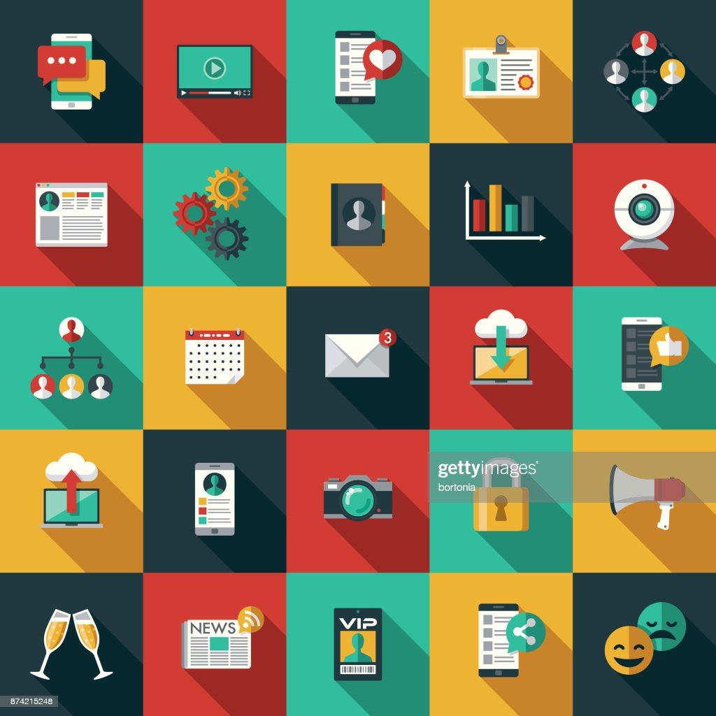 Social Media Flat Design Icon Set with Side Shadow : Stock Illustration
